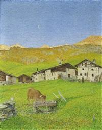 grevaselvas vor sonnenaufgang by gottardo guido segantini