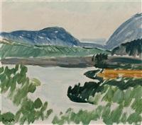 landschaft mit see by hans berger