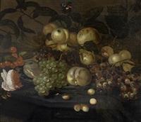 früchte- und blumenstilleben mit schmetterling und insekten by bartholomeus assteyn