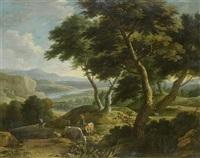schäferpaar mit herde vor einer weiten landschaft by gaspar de witte