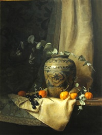 still life with ceramic vase, oranges and grapes by eleanor moore