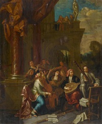 musizierende gesellschaft vor einem palast by arnold (van haecken) aken