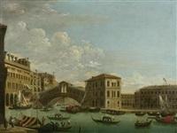 ansicht auf venedig mit rialtobrücke und dem palazzo camerlenghi by jacopo fabris