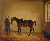 lieutenant west, first regiment life guards, and his horse, in a loose box by edward walter webb