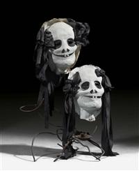 kerzenleuchter mit zwei masken by eva aeppli and jean tinguely