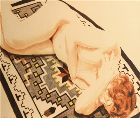 model on grey patterned rug ii by philip pearlstein