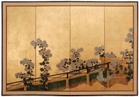 byôbu. weisse chrysanthemen (folding screen in 4 parts) by japanese school (20)