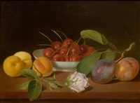 still life with cherries and apricots on a table by justus juncker