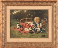 girl playing with four kittens by john adamson