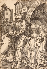 abraham and the three angels; the judgement of solomon; lot and his family leaving sodom (set of 3) by georg pencz and heinrich aldegrever