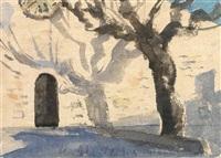 schatten werfende platane im frühjahr vor einer kirche by hans andré ficus