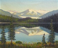mountain landscape (+ lake view with mountains in the distance, lrgr; 2 works) by charles augustus swanson