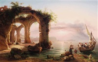 loved ones returning at dusk, the bay of naples by eduard agricola