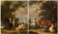 pair of works: poultry in a landscape by philips angel