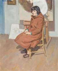 woman seated in the studio by thomas reid macdonald