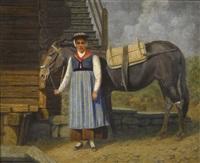 trachtenfrau mit maulesel by paul grosheintz