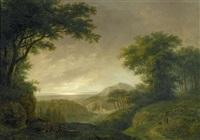 weite bukolische landschaft mit hirtenpaar by ludwig hess