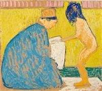 die toilette (mutter, ein mädchen nach dem bade trocknend) by cuno amiet