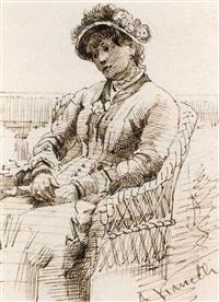 frau in einem korbstuhl sitzend by alberto vianelli