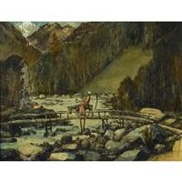 berglandschaft mit gevatter tod auf einem esel by walter krebs