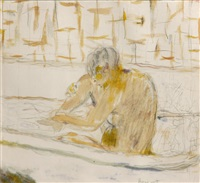 femme assis dans sa baignoire by pierre bonnard