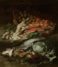 stillleben mit fischen und früchten in einem korb by giuseppe recco