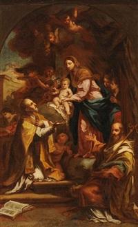 maria mit kind und den heiligen filippo neri und nikolaus von bari by sebastiano conca