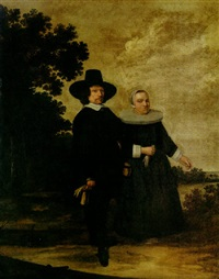 a portrait of a couple in a landscape by herman mijnerts doncker