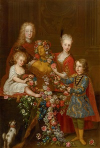 portrait of four children of a noble family with a bust of flora by carlo amalfi