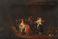 spielende gesellschaft in einem interieur by jan miense molenaer