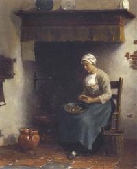 magd in der küche beim kartoffel schälen by johan van hulsteyn