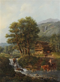 sommerliche landschaft mit bauernhaus an einem bach by johann conrad gessner