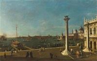 venezianische ansicht mit piazzetta gegen die punta della dogana und der kirche santa maria della salute by canaletto