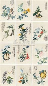 花卉册 (album w/12 works) by liang yuwei