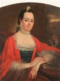 portrait of a seated woman wearing pearl necklace and earrings by john lewis