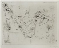 le thé du matin, pl. 18, from les ames mortes by marc chagall and pablo picasso