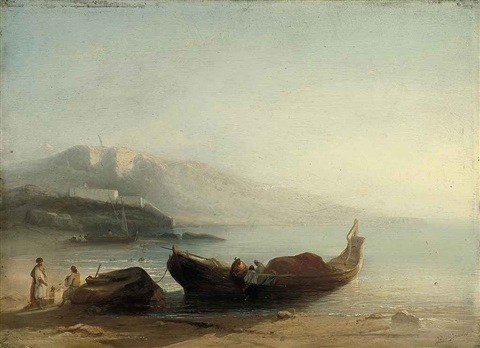 north african fishermen on the shore by jacob jacobs