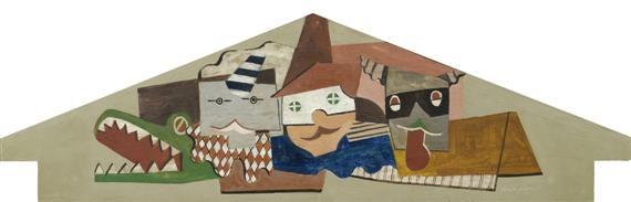 giebel eines kasperlitheaters mit verschiedenen figuren by hans erni