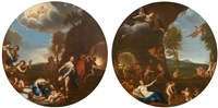 pair of works: putti making weapons /putti disarmed by francesco albani