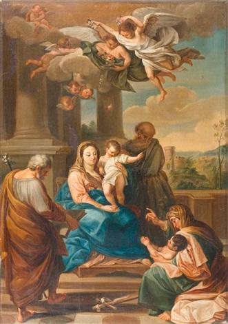 heilige familie bekrönt von engeln mit blumen by domenico corvi