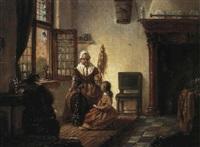 interieur mit frau an spinnrad by adrianus wilhelmus nieuwenhuyzen
