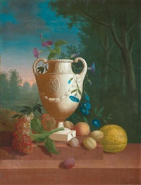 eine vase und früchte auf einer steinbrüstung vor einer landschaft by pieter faes