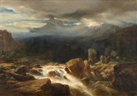 düstere gebirgslandschaft mit wildbach by johann gottfried steffan