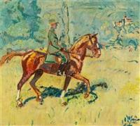 oberst auf seinem pferd in einer sommerlandschaft (wohl oberst alfred jenny 1877-1936) by cuno amiet