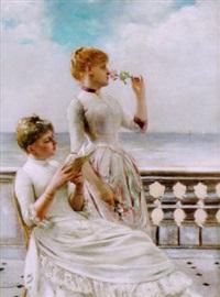 zwei damen auf terrasse vor dem strand by georges van den bos