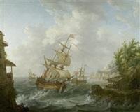 seeschlacht mit amerikanischen und britischen fregatten by johann caspar huber