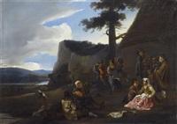 tarantella - mediterrane landschaft mit hirten beim feiern und tanzen by jan miel