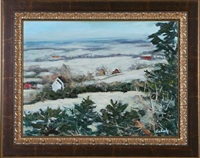 winter landscape with farms by evelyn faherty