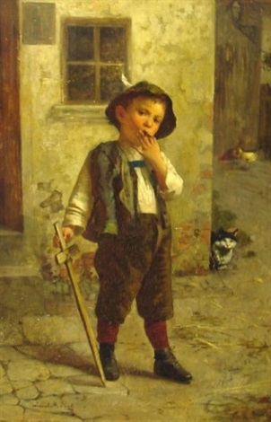 portrait of a young boy with wooden sword by edmund adler