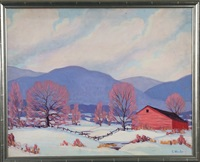 winter landscape with red barn by clifton a. wheeler